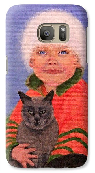 Galaxy Case featuring the painting Young Boy And Geriatric Kitty by Janet Greer Sammons