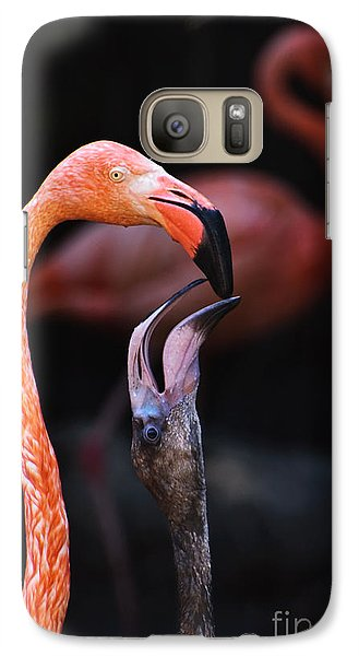 Galaxy Case featuring the photograph Young Flamingo Feeding by Terry Garvin