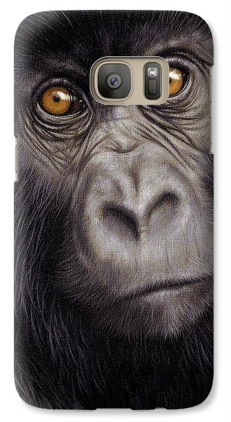 Gorilla Galaxy S7 Case - Young Gorilla Painting by Rachel Stribbling