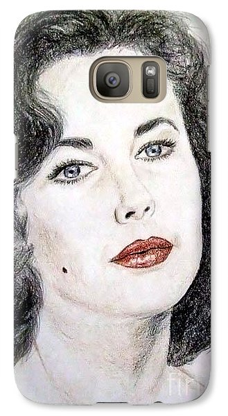Galaxy Case featuring the drawing Young Liz Taylor Portrait by Jim Fitzpatrick