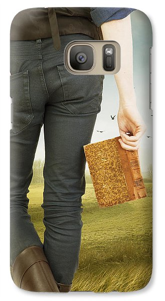 Galaxy Case featuring the photograph Young Man Holding Book by Ethiriel  Photography