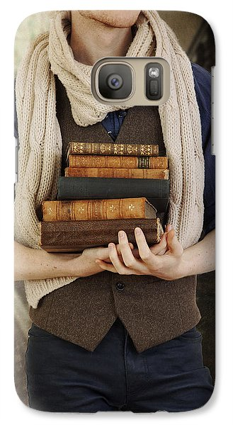 Galaxy Case featuring the photograph Young Man With Books by Ethiriel  Photography