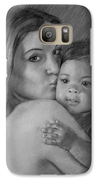 Galaxy Case featuring the drawing Young Mother With Her Baby by Viola El