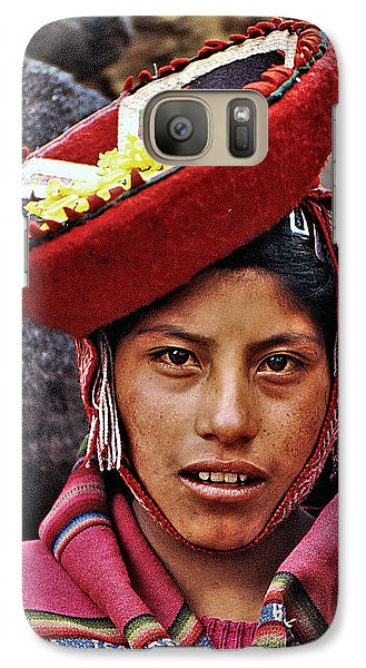 Galaxy Case featuring the photograph Young Peruvian Girl With Hat by Christopher McKenzie