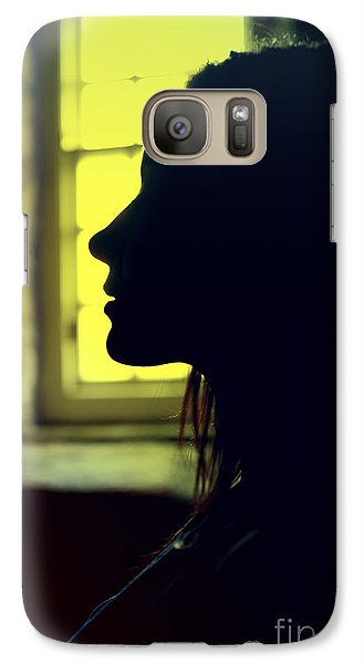 Galaxy Case featuring the photograph Young Woman Silhouetted Profile by Craig B