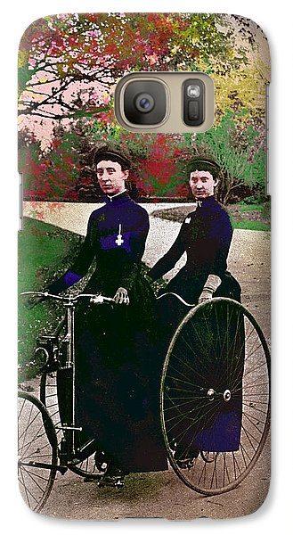 Galaxy Case featuring the mixed media Young Women Biking by Charles Shoup