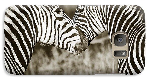 Galaxy Case featuring the photograph Zebra Affection by Liz Leyden