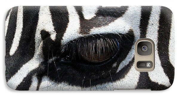 Galaxy Case featuring the photograph Zebra Eye by Linda Sannuti