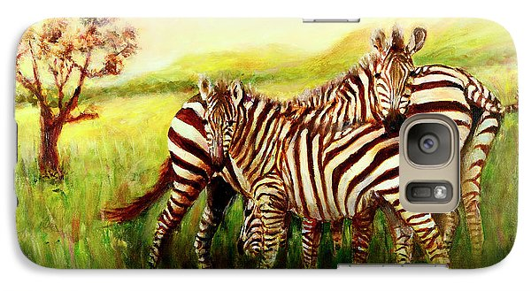 Galaxy Case featuring the painting Zebras At Ngorongoro Crater by Sher Nasser