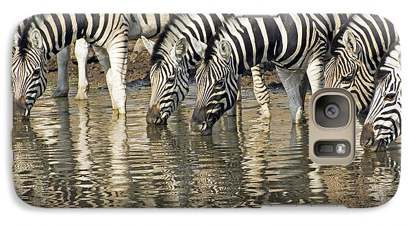 Galaxy Case featuring the photograph Zebras At Water Hole by Dennis Cox WorldViews