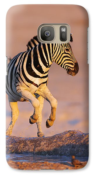 Zebra Galaxy S7 Case - Zebras Jump From Waterhole by Johan Swanepoel