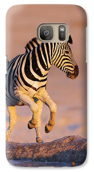 Zebras Jump From Waterhole Galaxy Case by Johan Swanepoel