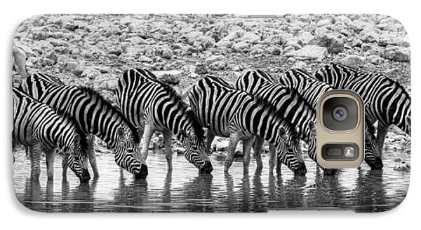 Galaxy Case featuring the photograph Zebras On A Waterhole by Juergen Klust