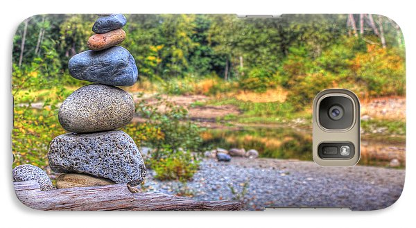 Galaxy Case featuring the photograph Zen Balanced Stones On A Tree by Eti Reid