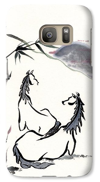 Galaxy Case featuring the painting Zen Horses Evolution Of Consciousness by Bill Searle