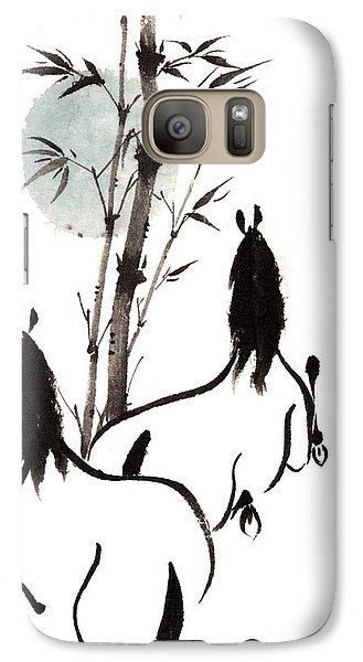 Galaxy Case featuring the painting Zen Horses Moon Reverence by Bill Searle