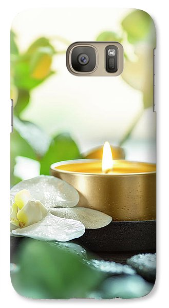 Orchid Galaxy S7 Case - Zen Orchid And Candle by #name?