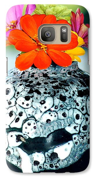 Galaxy Case featuring the photograph Zinnia In Vase by Lehua Pekelo-Stearns
