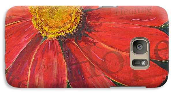Galaxy Case featuring the painting Zinnia Of Hope by Lisa Fiedler Jaworski