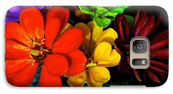 Galaxy Case featuring the photograph Zinnias by Lehua Pekelo-Stearns