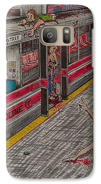 Galaxy Case featuring the painting Zombies On The Red Line by Richie Montgomery