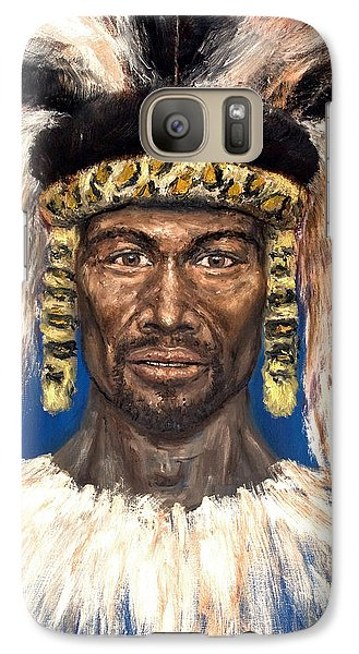 Galaxy Case featuring the painting Zulu Warrior by Arturas Slapsys