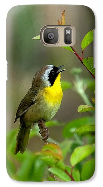 Galaxy Case featuring the photograph  Common Yellowthroat Warbler Warbling Dsb006 by Gerry Gantt