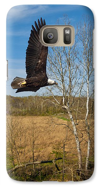 Galaxy Case featuring the photograph  Eagle Circleing Her Nest by Randall Branham