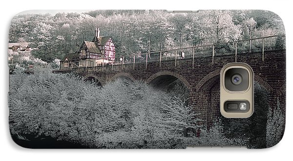 Galaxy Case featuring the photograph  Infrared Train Station Bridge by Beverly Cash