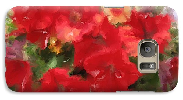 Galaxy Case featuring the mixed media  Red Petunia by Hai Pham