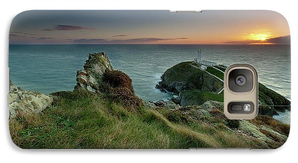 Galaxy Case featuring the photograph  Sunset At South Stack Lighthouse by Beverly Cash