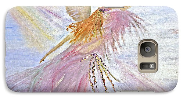 Galaxy Case featuring the painting Angel-keeper Of The Rainbow by Joy Braverman