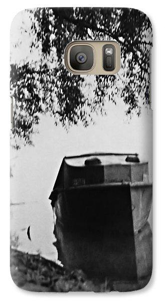 Galaxy Case featuring the photograph Boat On Foggy Rhine by Bob Wall