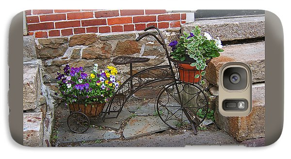 Galaxy Case featuring the photograph Flower Bicycle Basket by Val Miller