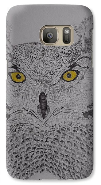 Galaxy Case featuring the drawing Great Horned Owl by Gerald Strine