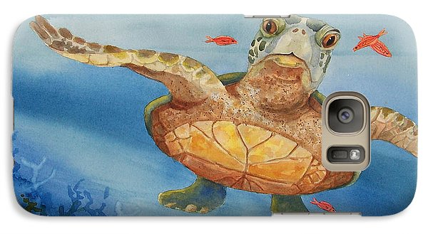 Galaxy Case featuring the painting Henry C. Turtle-lunch With Friends by Joy Braverman