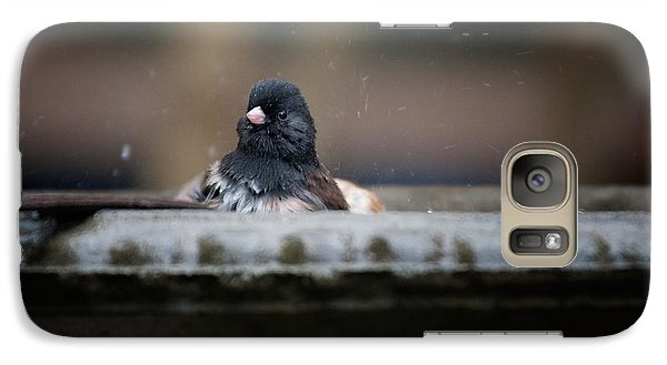 Galaxy Case featuring the digital art Junco In The Birdbath by Carol Ailles