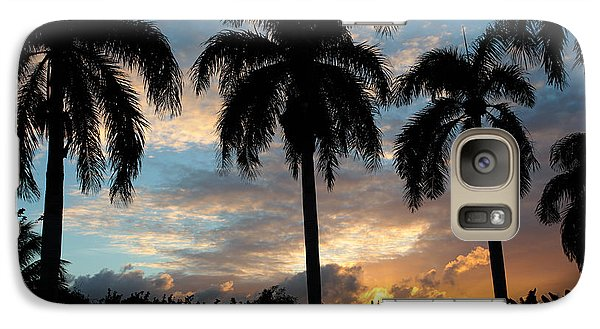 Galaxy Case featuring the photograph Palm Tree Silhouette by Karen Lee Ensley