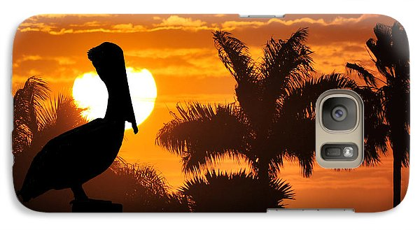 Galaxy Case featuring the photograph Pelican At Sunset by Dan Friend