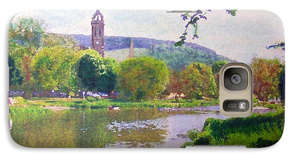 Galaxy Case featuring the painting River Walk Reflections Peebles by Richard James Digance