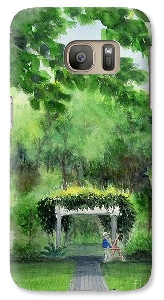 Galaxy Case featuring the painting the garden at the wellers carriage house in Saline  Michigan 1 by Yoshiko Mishina
