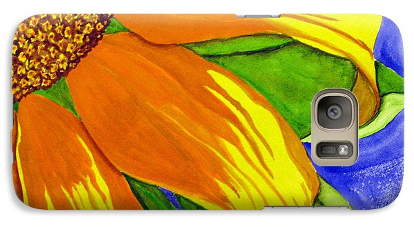 Galaxy Case featuring the painting This Is No Subdued Sunflower by Debi Singer