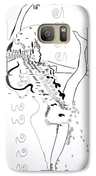 Galaxy Case featuring the drawing Zulu Dance - South Africa by Gloria Ssali