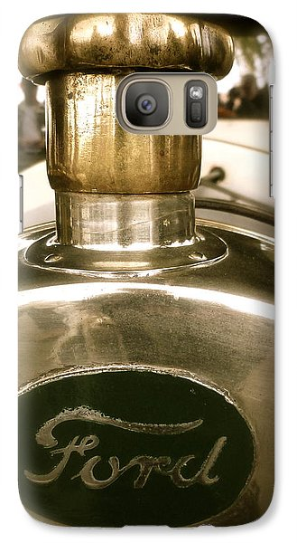 Galaxy Case featuring the photograph 1918 Ford Model T Indianapolis Hood Badge by John Colley