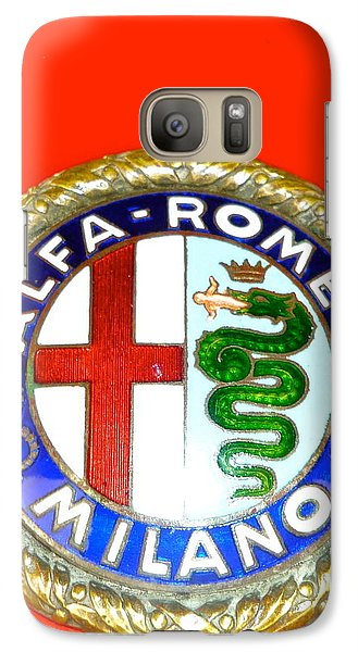 Galaxy Case featuring the photograph 1938 Alfa Romeo 308c Hood Badge by John Colley