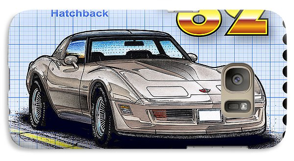 Galaxy Case featuring the drawing 1982 Collector Edition Hatchback Corvette by K Scott Teeters