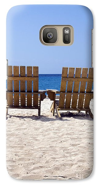 Galaxy Case featuring the photograph Cozumel Mexico Beach Chairs And Blue Skies by Shawn O'Brien