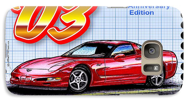 Galaxy Case featuring the drawing 2003 50th Anniversary Edition Corvette by K Scott Teeters