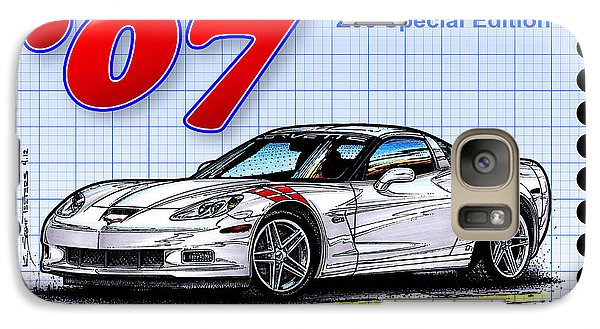 Galaxy Case featuring the drawing 2007 Ron Fellows Z06 Special Edition Corvette by K Scott Teeters