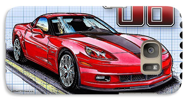 Galaxy Case featuring the drawing 2008 427 Limited Edition Z06 by K Scott Teeters